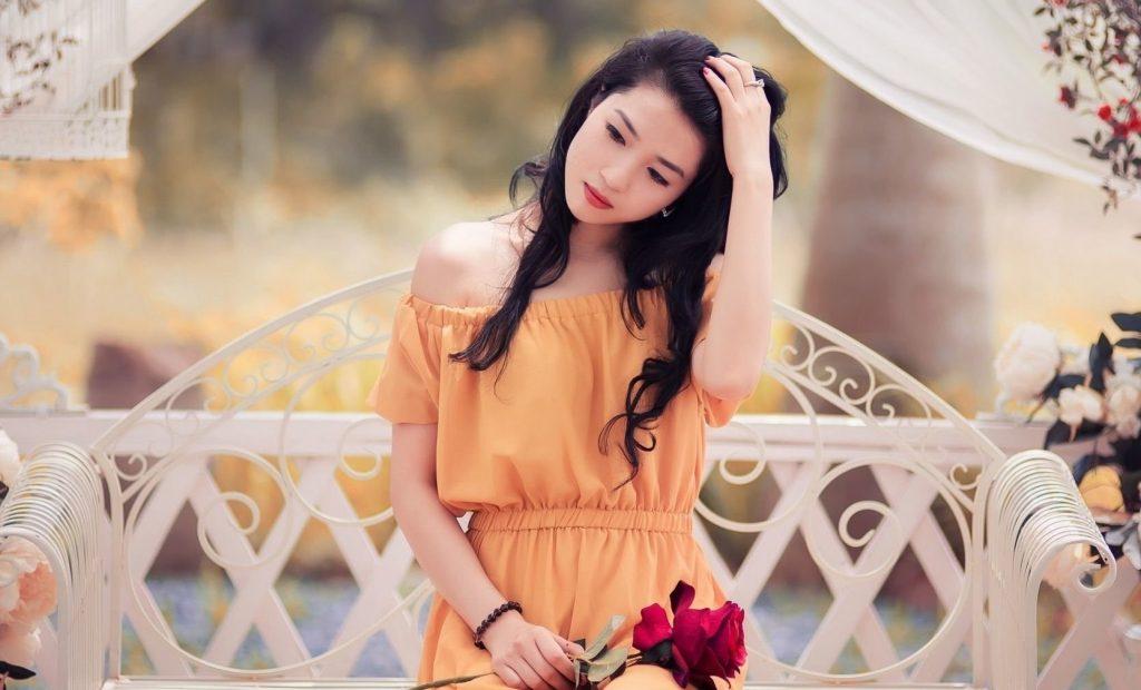 Orange Dress with a Peachy Lipstick