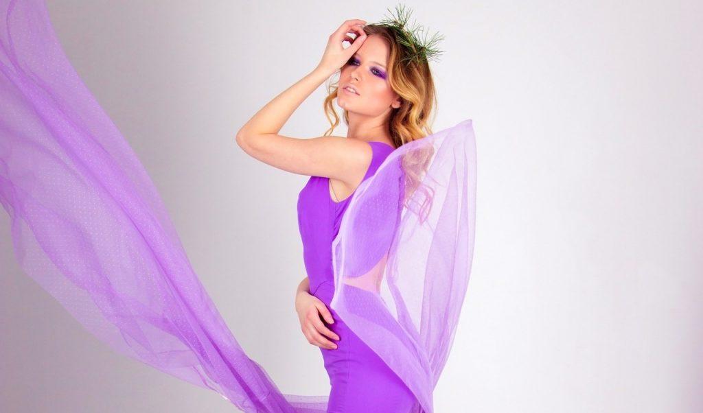 Purple Dress with a Nude Lipstick